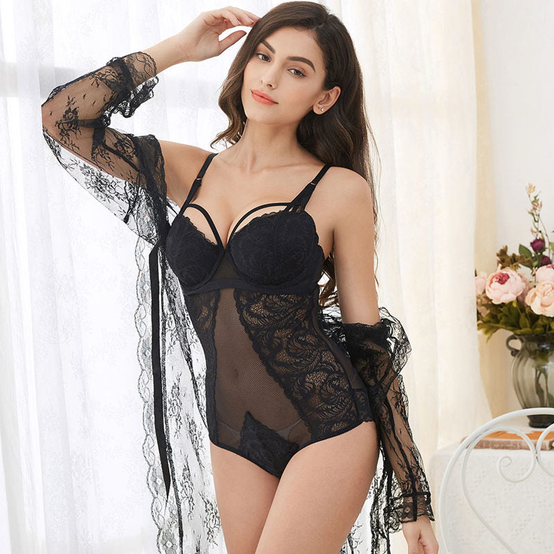 3 pcs Lingerie Set With Bra Set, Robe & Thongs