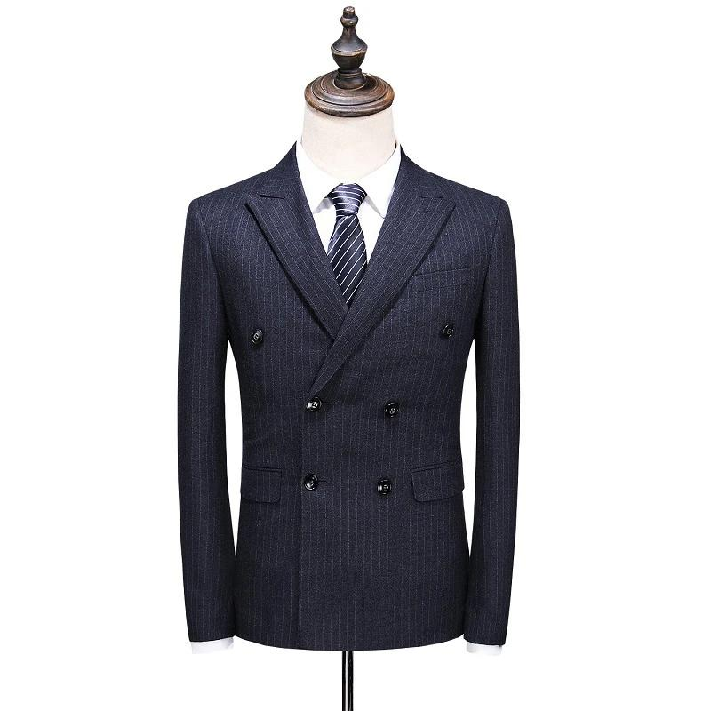 Stripe Double-breasted Slim Fit Business Formal Suit