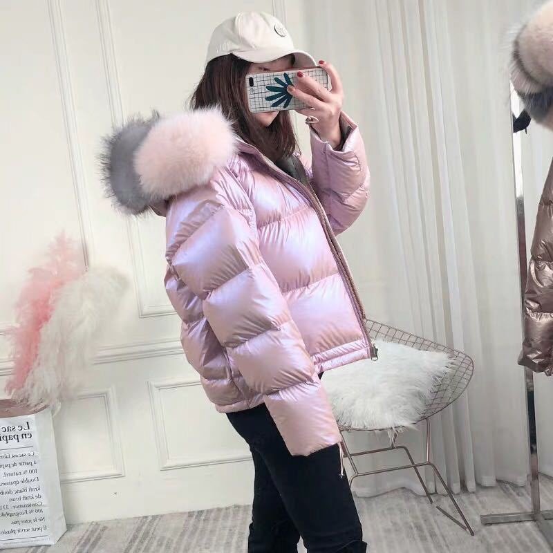 Reversible Fox Fur Collar Hooded Down Jacket