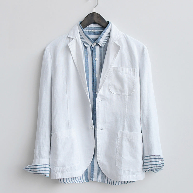 Smart Casual Pure Linen Single Button Blazer