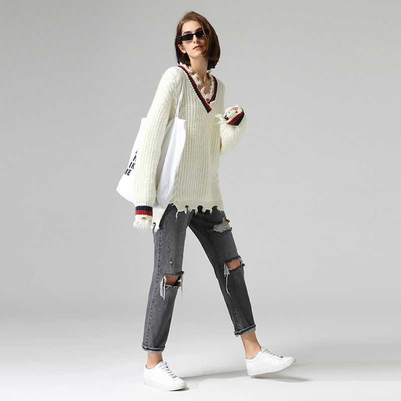 V-Neck Long Sleeve Casual Sweater