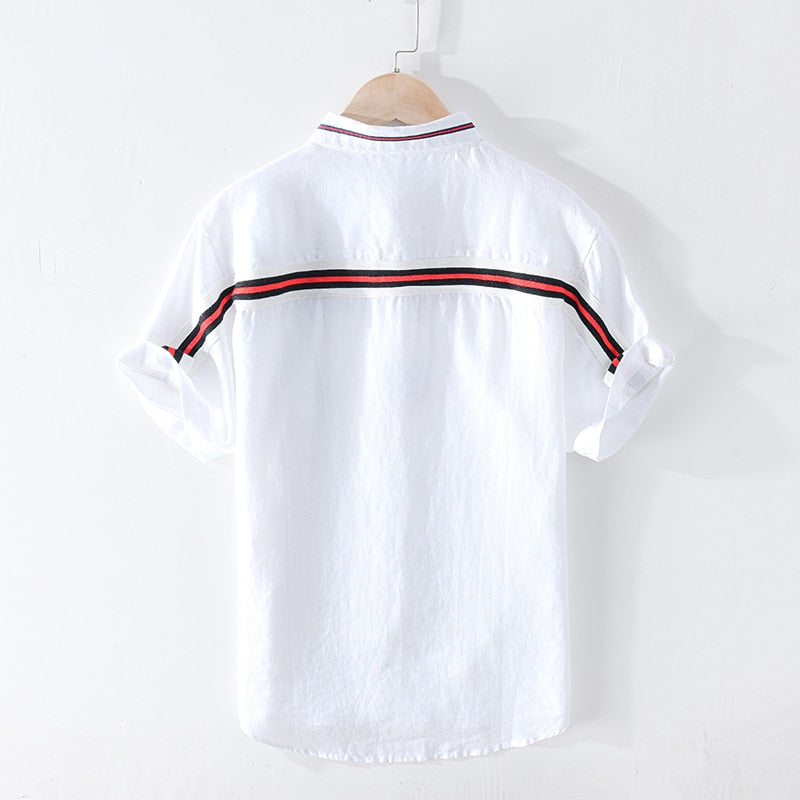 Pure Linen Striped Short Sleeve Shirt