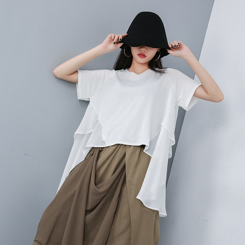 Short Sleeve Loose Chiffon T-shirt