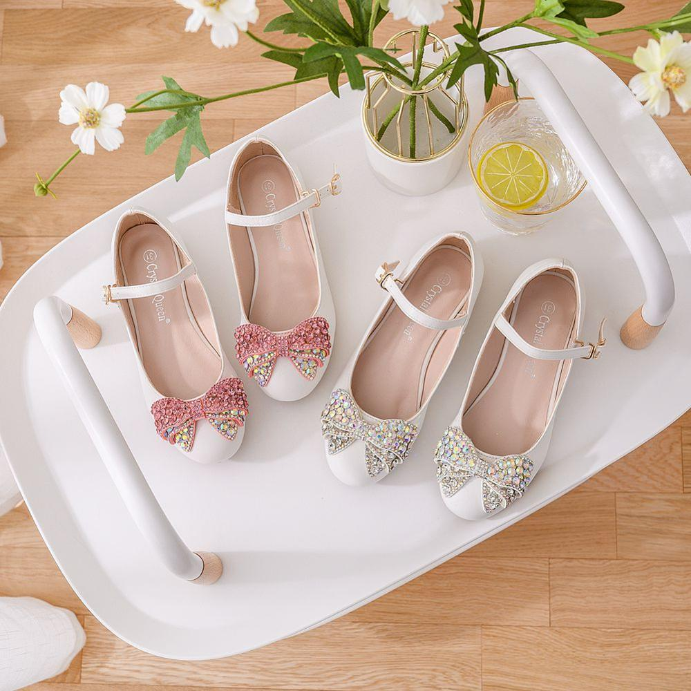 Floral Rhinestone bow Princess Shoes