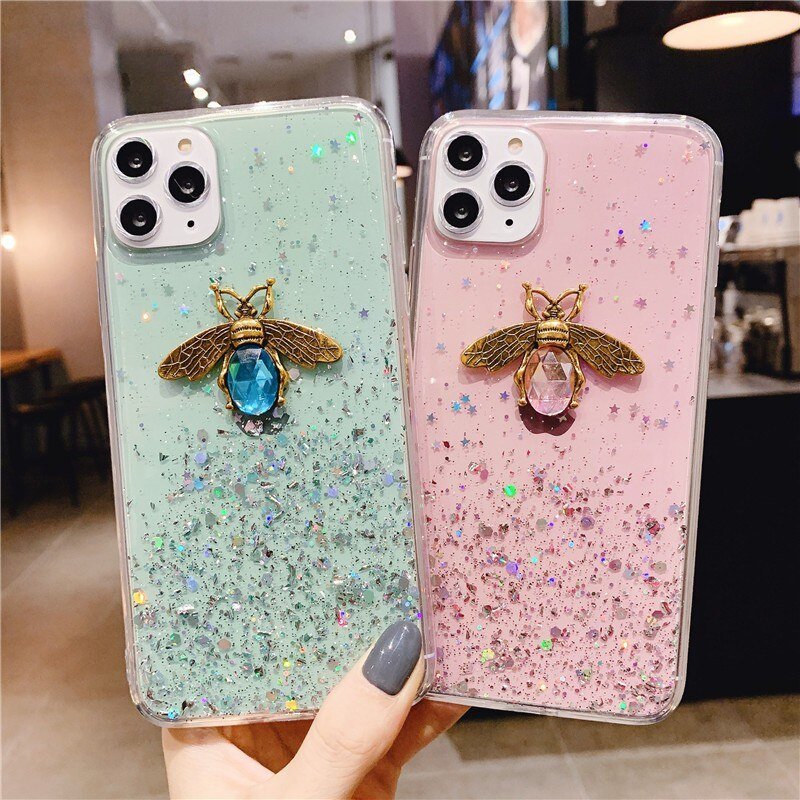 Luxury 3D Bee Glitter Soft Phone Case For Xiaomi