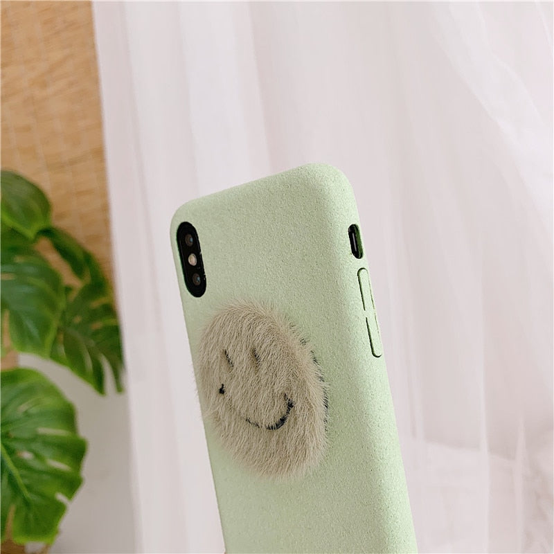 Cute Smiley Fabric iPhone Soft Case