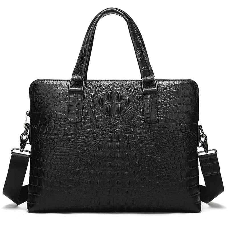 Genuine Leather Crocodile Pattern 14 Inch Laptop Bag