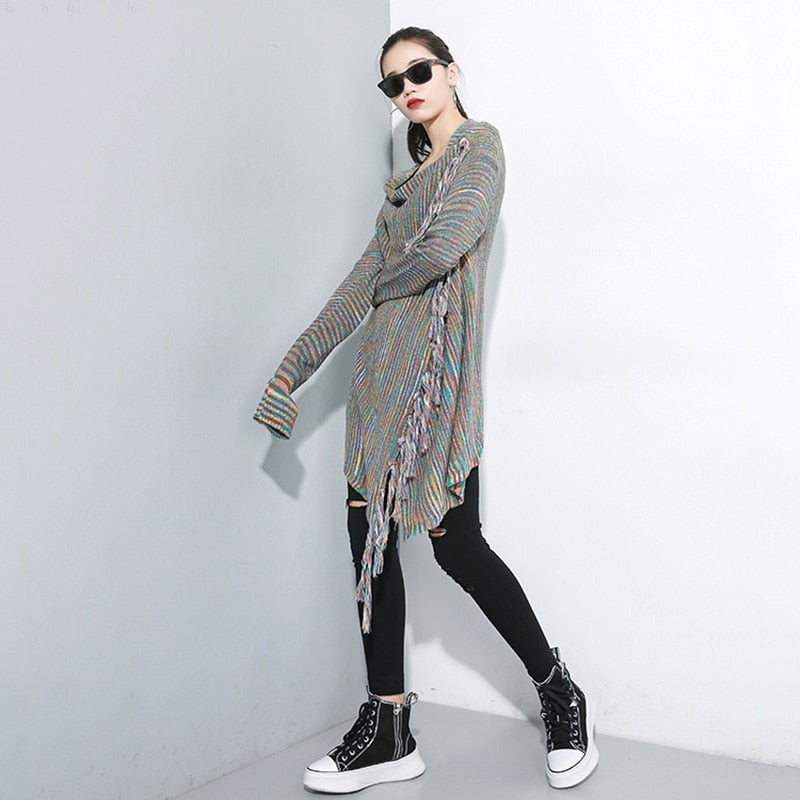 Tassel Oversize Knitting Sweater Poncho