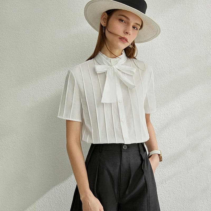 Solid Bow Neck Top