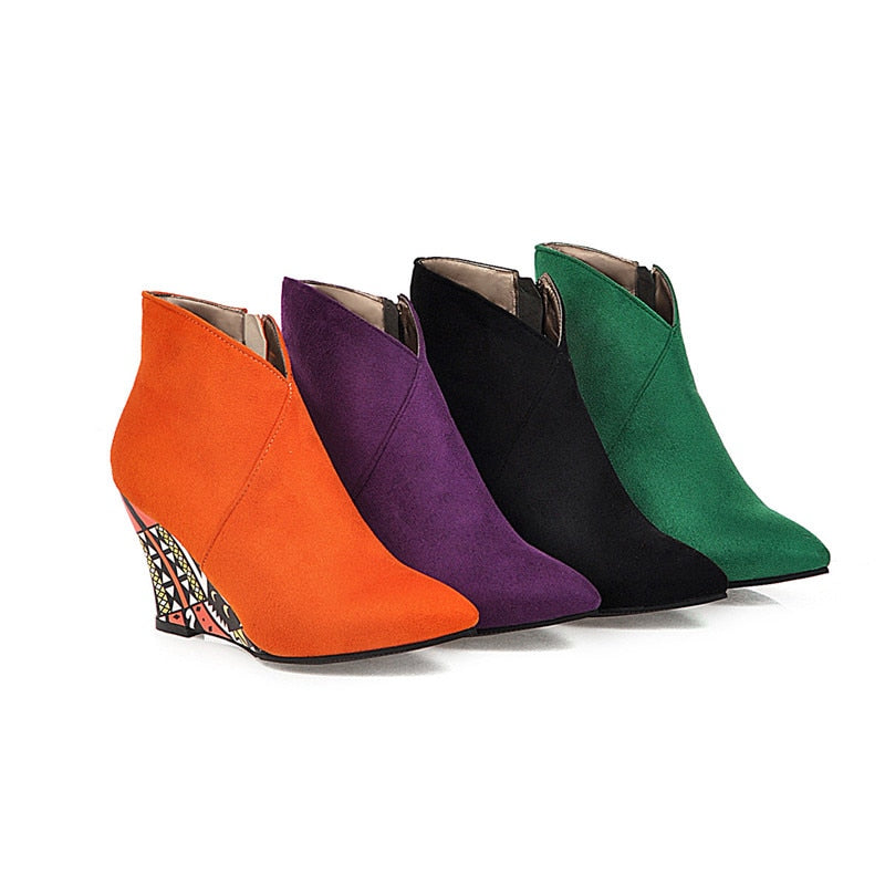 Graffiti Wedges Ankle Boots