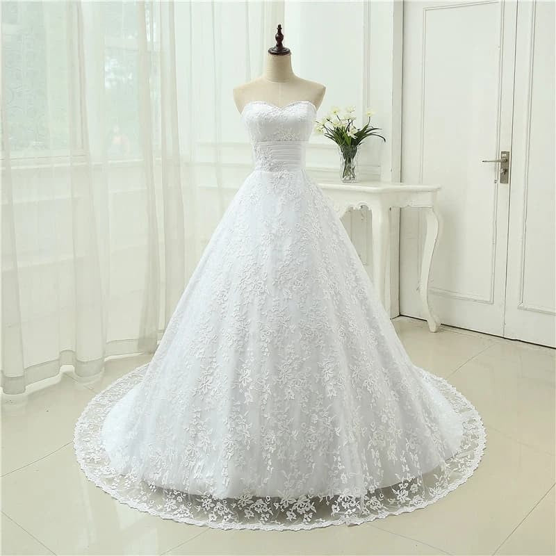 Gorgeous Backless A line Lace Wedding Dress