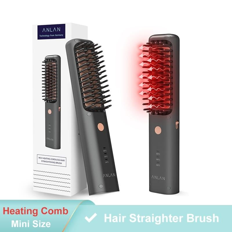 3 in 1 Cordless Heating Comb Straightener & Curler