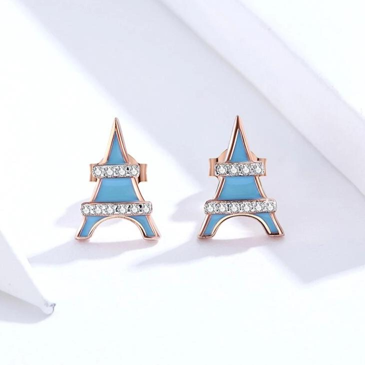 Genuine 925 Sterling Silver Blue Enamel Stud Earrings
