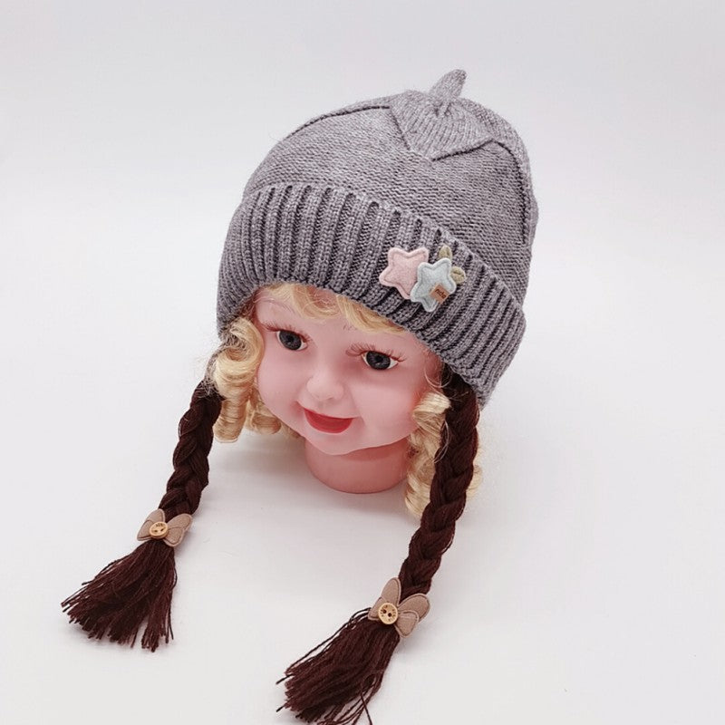 Baby Girl Knit Caps With Fake Braid