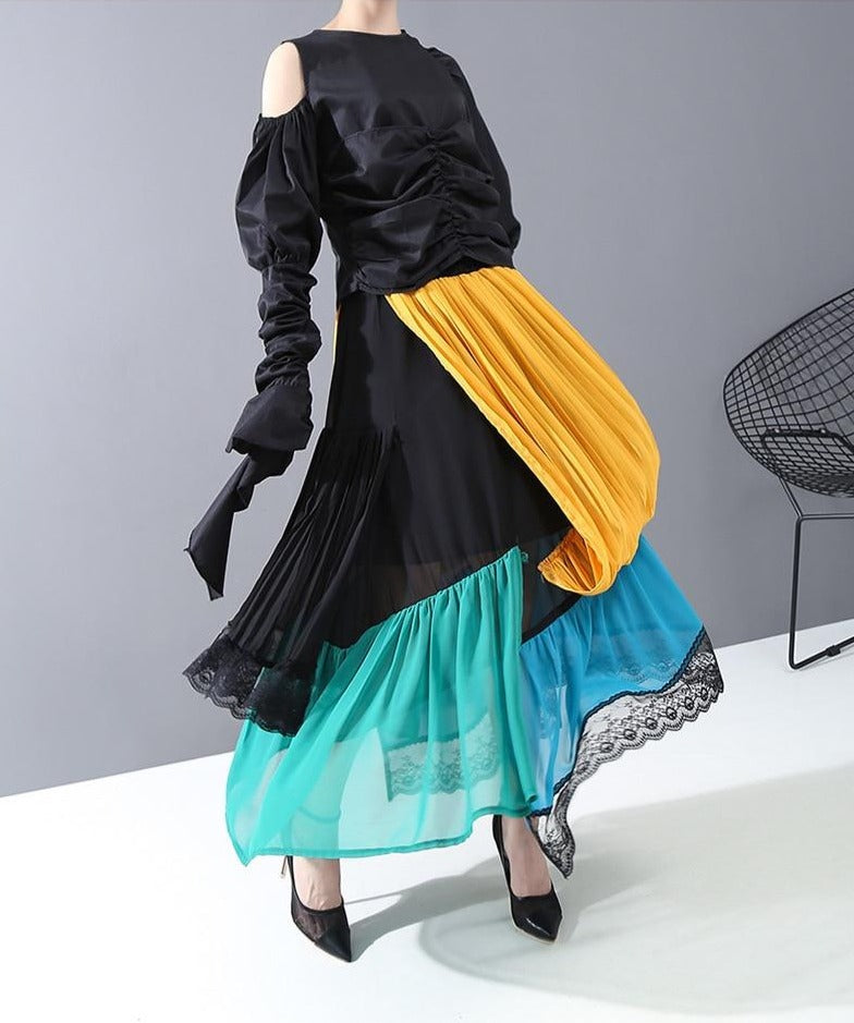 High Elastic Waist Pleated Skirt