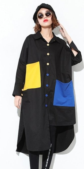Hit Color Pockets Large Size Long-Shirt