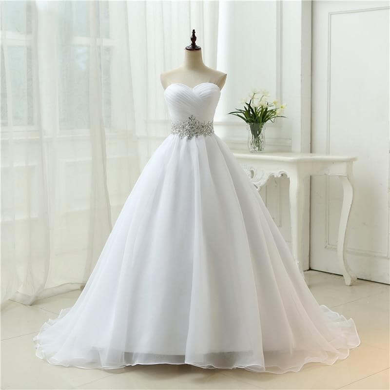 Organza Strapless Lace Up Wedding Dress