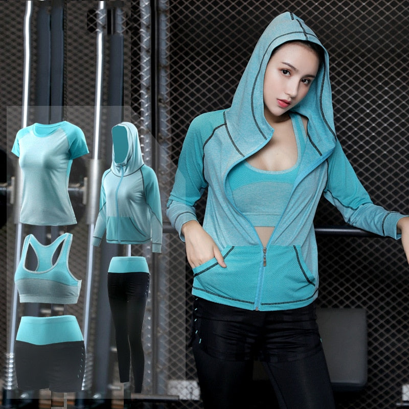 5Pcs Woman Tracksuit WIth Sports Bra, Hoddie Jacket, T-shirt, Shorts & Lowers