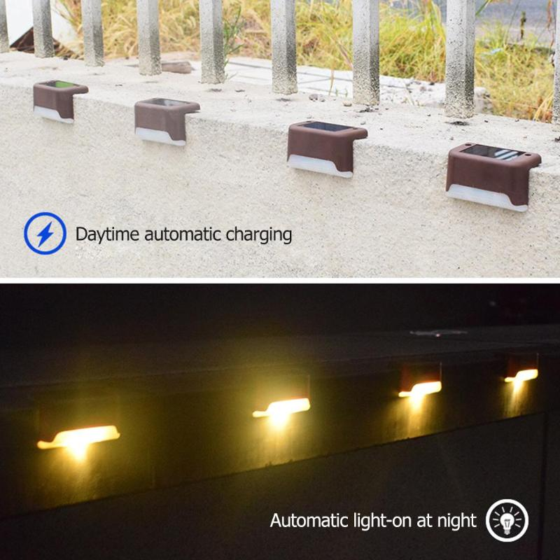 4/12pcs LED Solar Stairs Waterproof Lights