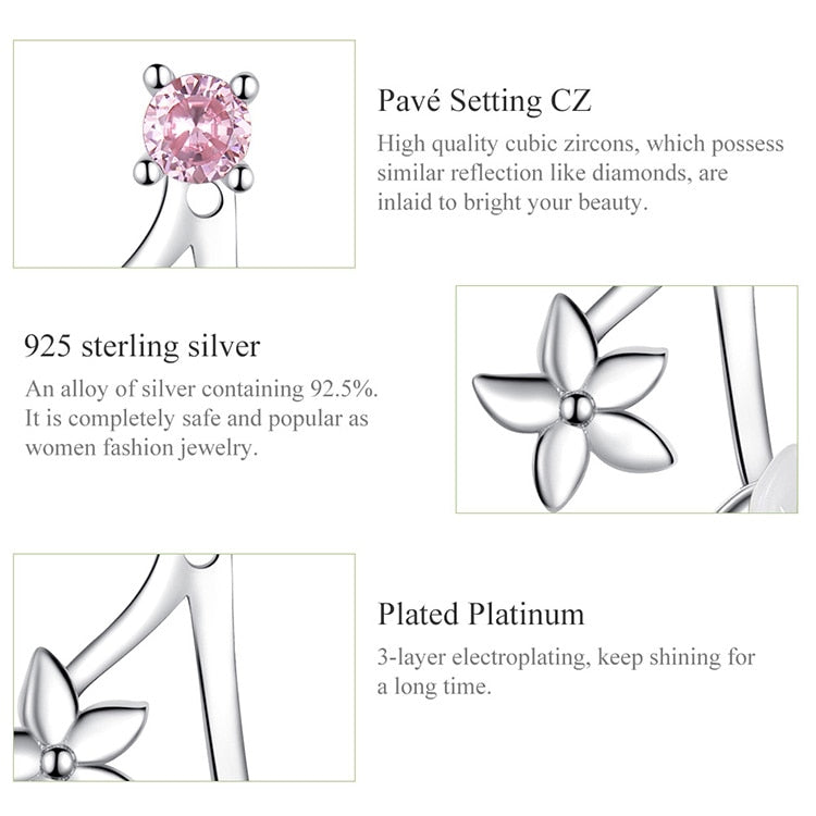 Authentic 925 Sterling Silver Pure Shell Flower Stud Earrings