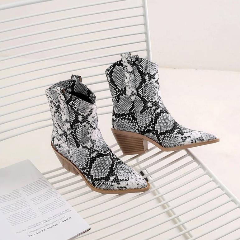 Retro High Heel Ankle Boots