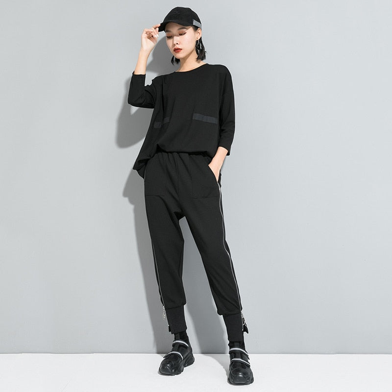 High Elastic Waist Zipper Harem Trousers