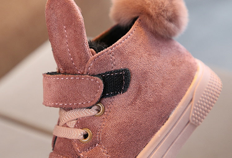 Warm Plush Girls Rabbit Ear Sneakers