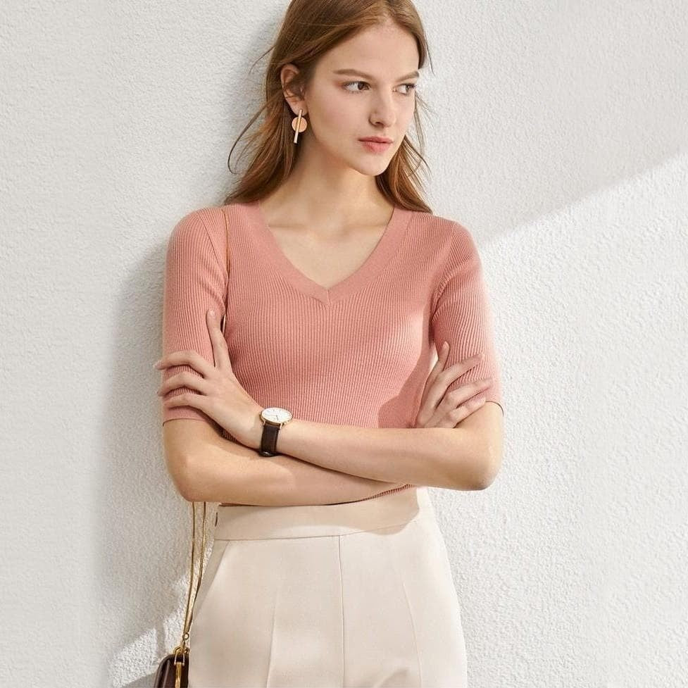 Fbv1qWwy88r Solid Knit Causal Slim Top