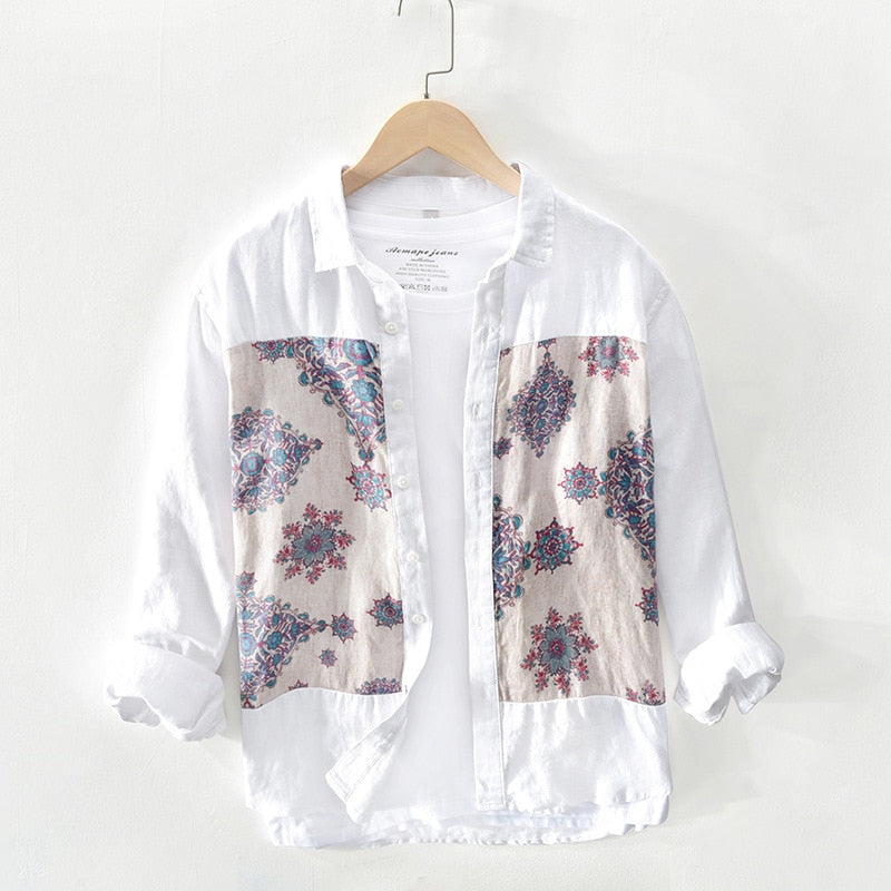 Linen Patchwork Casual Shirt