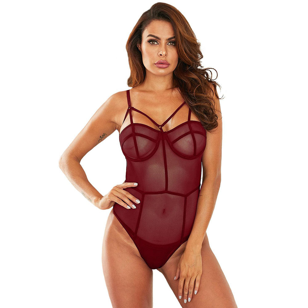 Perspective Mesh Thong Bodysuit