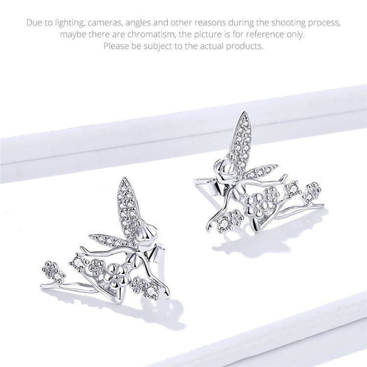 Sterling Silver Fairy Ring and Stud Earrings