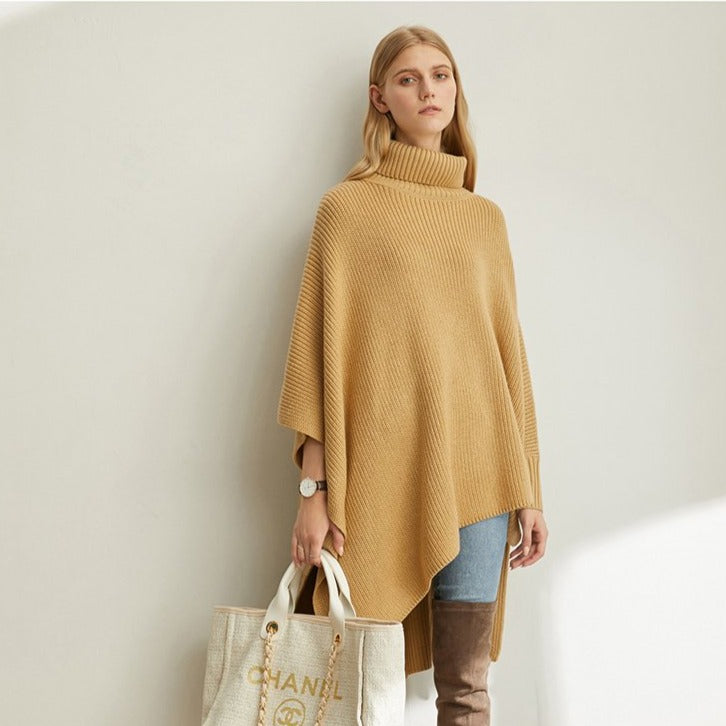 Knitted Batwing Sleeve Split Loose Turtleneck Sweater