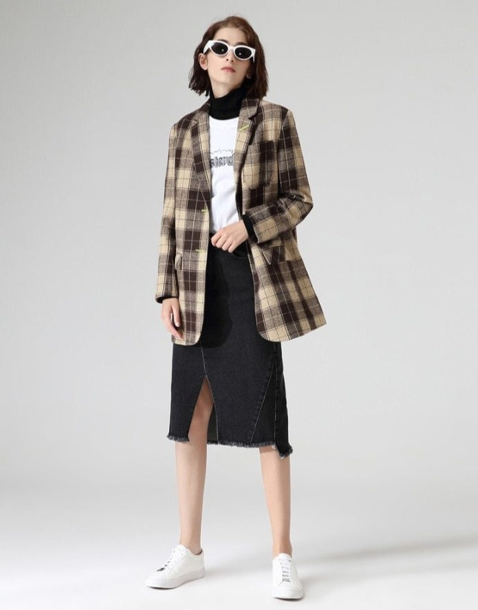 British Style Plaid Trendy Blazer