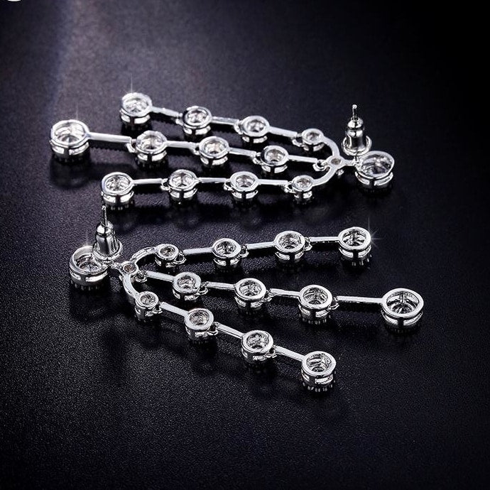 Zircon Big Dangle Drop Earrings