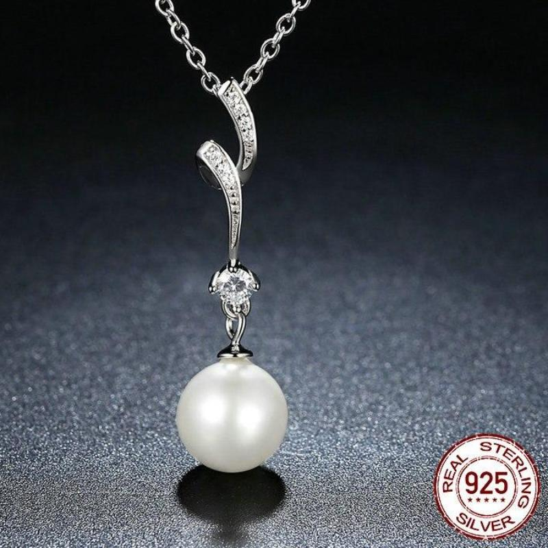 Sterling Silver Shell Pearl Pendant Necklace