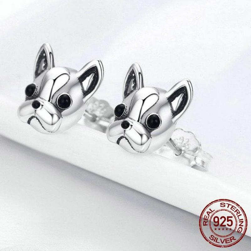 925 Sterling Silver French Bulldog Dog Stud Earrings
