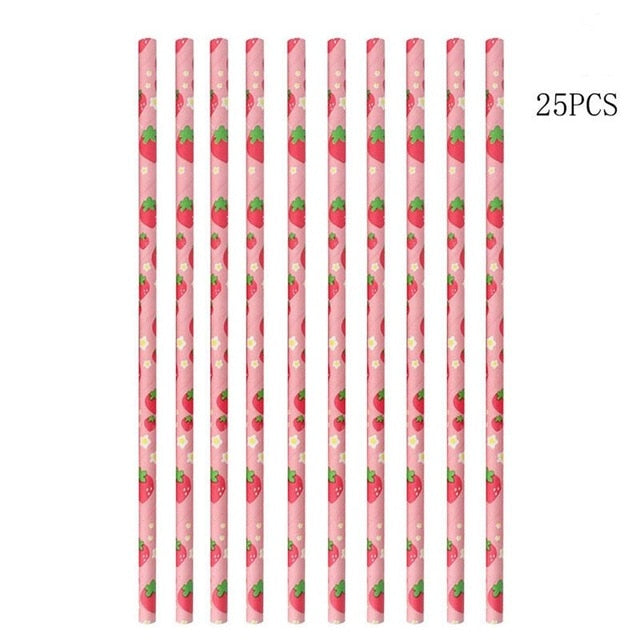 25pcs Fruit Print Straws