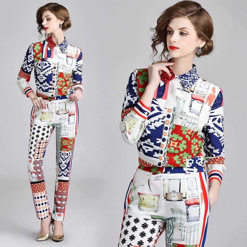 Trendy Blouse & Pants Set