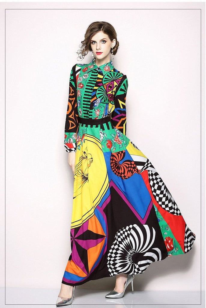 Indie Folk Print Slim Floor-Length Dress