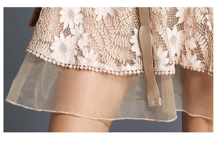 Floral Lace Mesh Mini Dress