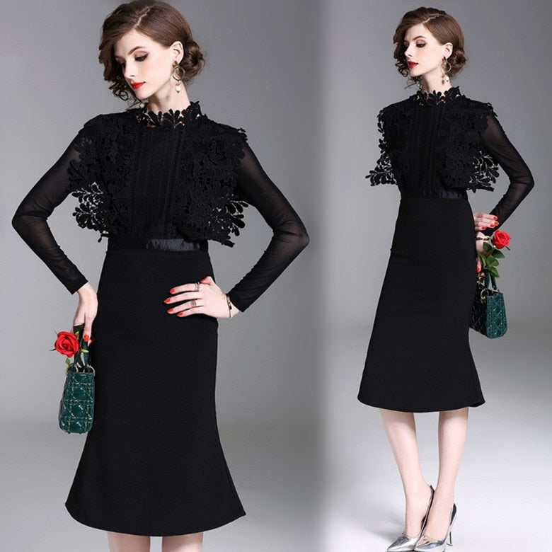 Lace Mesh Patchwork Slim Trumpet Dress