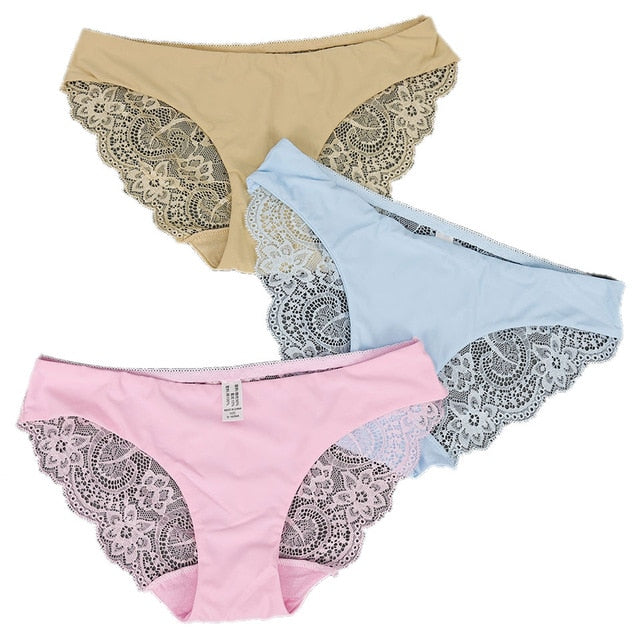 3 pcs Seamless Lace Panties