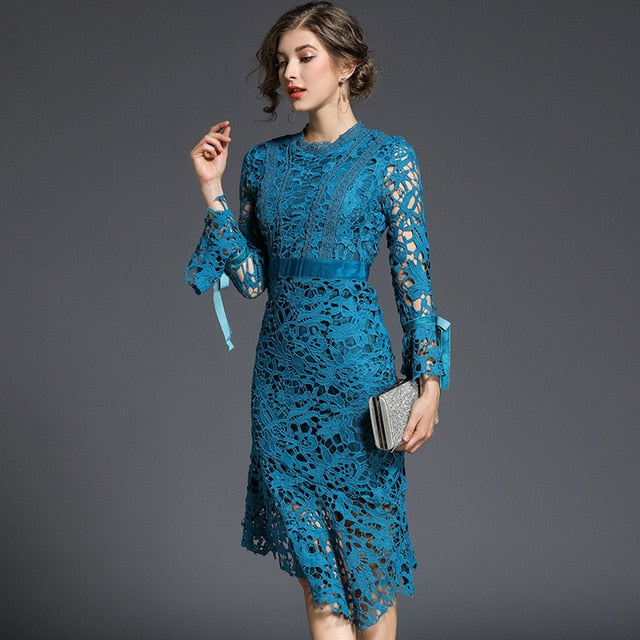 Elegant Lace Crochet Slim Tunic Dress
