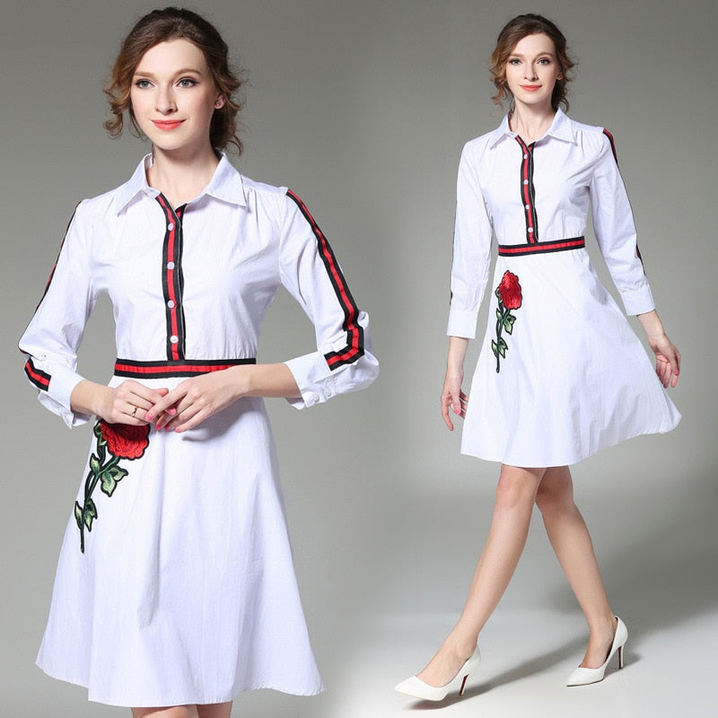 Embroidery Slim Tunic Shirt Dress