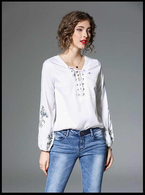 Lace-Up V Neck Blouse