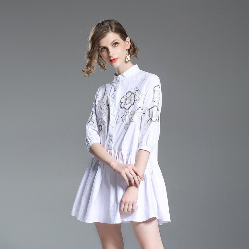 Embroidery Ruffle Mini Dress