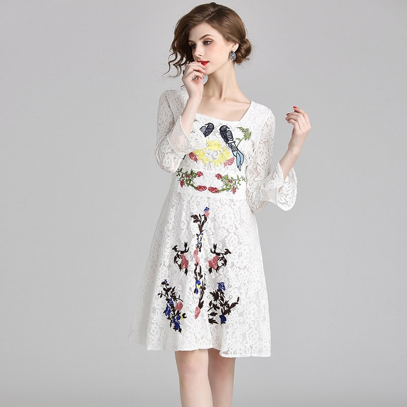 Lace Floral Embroidery Slim Tunic Dress