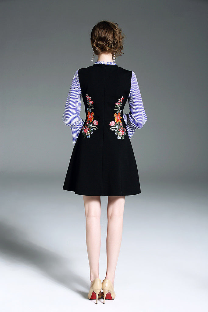 Floral Embroidery Slim Mini Dress