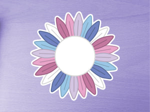 Bigender Pride Sunflower 10cm Vinyl Sticker