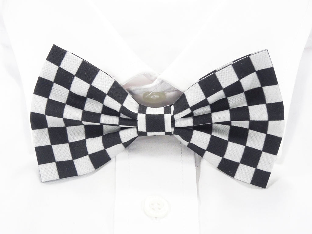 Black and White Checkered Pre-Tied Bow Tie